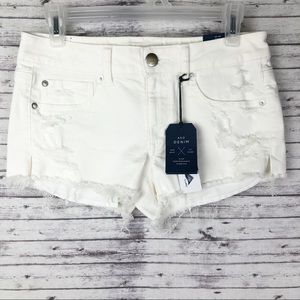 American Eagle AEO Destroyed White Shortie Shorts